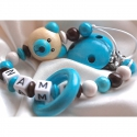 3D Aqua Teedy Bear & Teething Ring - Personalised Wooden Dummy Clip / Chain