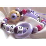 3D Lilac Teedy Bear & Teething Ring - Personalised Wooden Dummy Clip / Chain