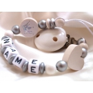 White Christening Shiny Crown & Star Personalised Wooden Dummy Chain / Clip