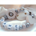 3D White Flower Personalised Wooden Dummy Clip / Chain