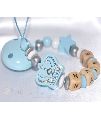 BIG CROWN & STAR Blue Personalised Wooden Dummy Clip , Chain , Holder , Strap