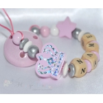 BIG CROWN & STAR Pink Personalised Wooden Dummy Clip , Chain , Holder , Strap