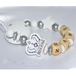 BiG CROWN & STAR White Personalised Wooden Dummy Clip , Chain , Holder , Strap