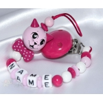 Cat 3D with Bow Hot Pink - Personalised Wooden Dummy Clip / Chain