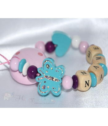 Shiny BUTTERFLY & HEART Aqua Personalised Wooden Dummy Clip / Chain / Holder