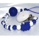 TRAIN NAVY BLUE & CROCHET BALL Personalised Wooden Dummy Clip / Chain / Holder