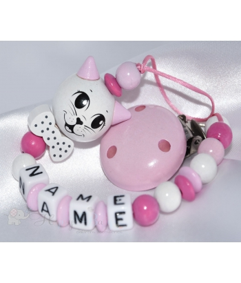 Cat 3D with Bow Royal  Pink - Personalised Wooden Dummy Clip / Chain