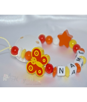 Yellow Butterfly & Star - Personalised Wooden Dummy Clip / Chain