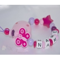 Pink Butterfly & Star - Personalised Wooden Dummy Clip / Chain