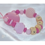 OWL PINK & CROCHET Personalised Wooden Dummy Clip / Chain / Pacifier