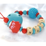 RED OWL & CROCHET Personalised Wooden Dummy Clip / Chain / Gift
