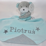 PERSONALISED PowderBlue  Bear & Baby Comforter Blanket & Soother Blanket