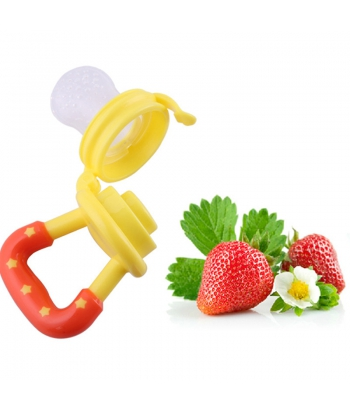 YELLOW Baby Feeding Pacifier Fresh Food Fruits/Feeder Dummy Soother