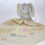 PERSONALISED PowderBeige Elephant & Baby Comforter Blanket & Soother Blanket
