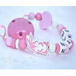 BUNNY Pink & HEART Personalised Wooden Dummy Clip / Chain / Holder