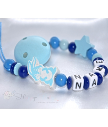 BUNNY Blue & STAR Personalised Wooden Dummy Clip / Chain / Holder