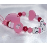UNICORN Pink Personalised Wooden Dummy Clip / Chain / Holder