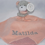 PERSONALISED PowderPink  Bear & Baby Comforter Blanket & Soother Blanket