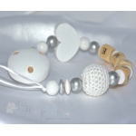 HEART & CROCHET Beads White Personalised Wooden Dummy Clip , Chain , Holder , Strap