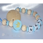 CROWN Blue - Personalised Wooden Dummy Clip / Chain