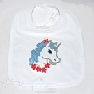 UNICORN Aplique Embroidered Baby Bib