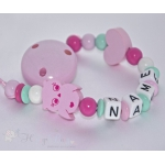 SWEET OWL & HEART Personalised Wooden Dummy Clip / Chain