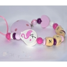 FLAMINGO Personalised Wooden Dummy Clip / Chain