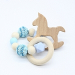 ROCKING HORSE . Blue Wooden Baby Barclet Animal Shaped Jewerly Teething  Organic. Wood Silicone Beads