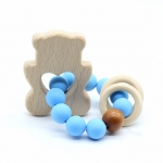 BEAR  Wooden Baby Barclet Animal Shaped Jewerly Teething  Organic. Wood Silicone Beads