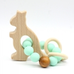 KANGURO  Wooden Baby Barclet Animal Shaped Jewerly Teething  Organic. Wood Silicone Beads