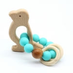 BEARD  Wooden Baby Barclet Animal Shaped Jewerly Teething  Organic. Wood Silicone Beads