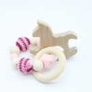 ROCKING HORSE . Pink  Wooden Baby Barclet Animal Shaped Jewerly Teething  Organic. Wood Silicone Beads