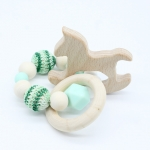 ROCKING HORSE . Green  Wooden Baby Barclet Animal Shaped Jewerly Teething  Organic. Wood Silicone Beads