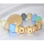 Personalised Wooden / Silicone Dummy Clip/Chain/Teether/Pacifier Holder