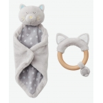 Personalised Cat Toy & Wooden Rattle Gift Set with Box
