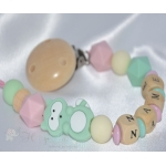 Mint RACCON Personalised Wooden / Silicone Dummy Clip / Chain
