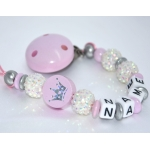 Personalised Dummy Clip Shiny Pink Crown