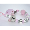 Crochet Mouse Personalised Wooden Dummy Clip / Chain