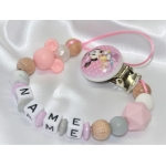 MINNIE Personalised Wooden Dummy Clip / Chain & Silicone Dummy Clip