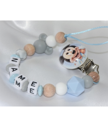 MICKEY Personalised Wooden Dummy Clip / Chain & Silicone Dummy Clip