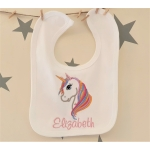 UNICORN Embroidered Baby Bib