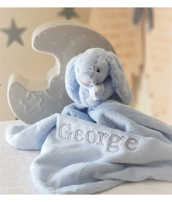 Personalised JellyCat Blue Bunny Comfort Blanket / Bunny Soother / Security Blanket