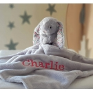 Personalised JellyCat Comforters Silver Bunny / Baby Security Blanket / Bunny Soother