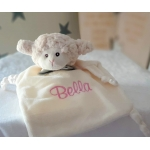 Personalised Baby SHEEP with Bow  / Comfort security Blanket / First Baby Toys / Little Baby Gift