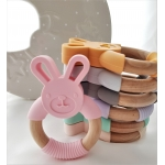 Silicone Diffuser Teether Ring / Bunny Silicone & Wood Teether - PINK