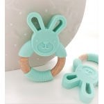 Silicone Diffuser Teether Ring / Bunny Silicone & Wood Teether - MINT