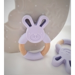 Silicone Diffuser Teether Ring / Bunny Silicone & Wood Teether - LILAC