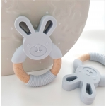 Silicone Diffuser Teether Ring / Bunny Silicone & Wood Teether - LIGHT GREY