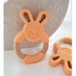 Silicone Diffuser Teether Ring / Bunny Silicone & Wood Teether - ORANGE