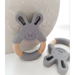 Silicone Diffuser Teether Ring / Bunny Silicone & Wood Teether - GREY